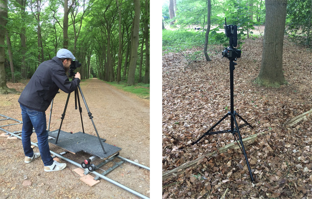 Setting up the camera and shot of the flash in the forest