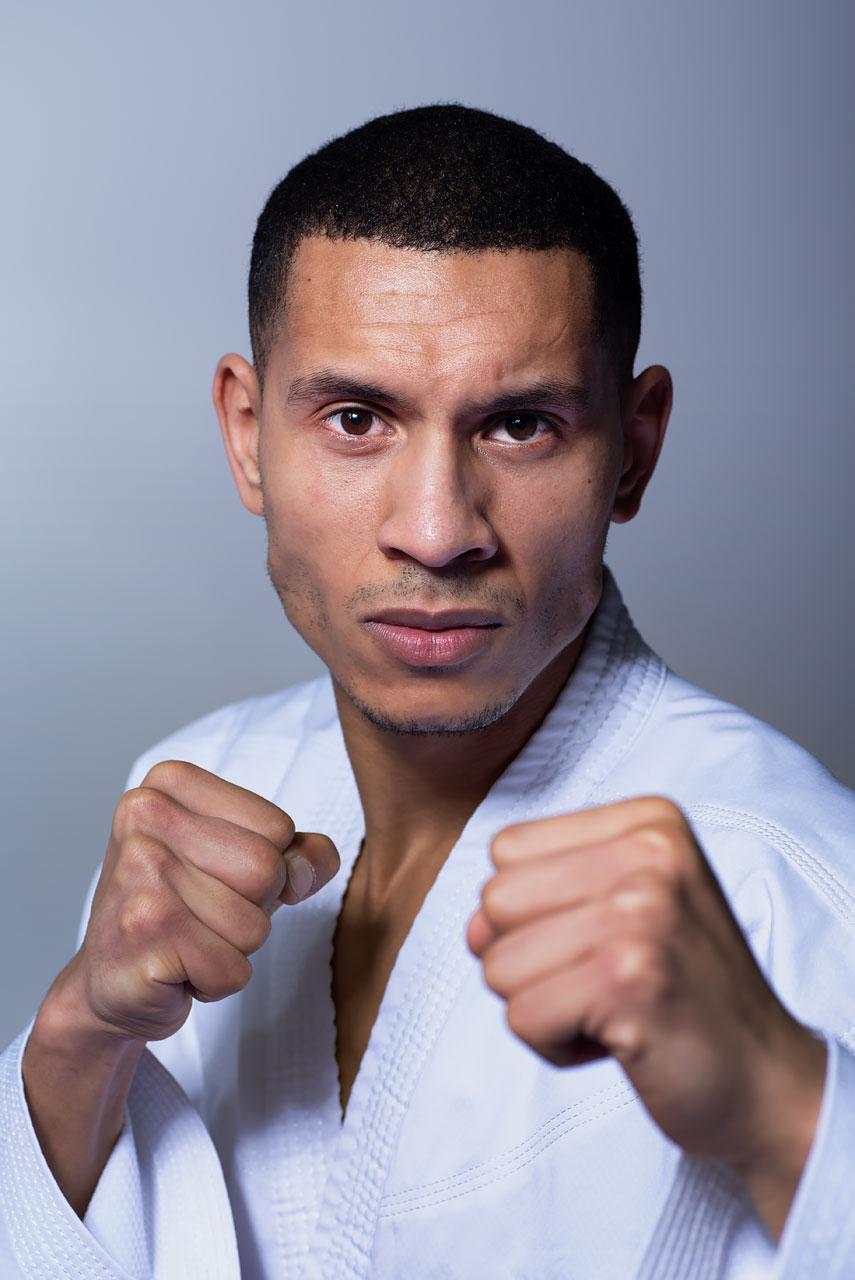 Portrait of karateka Yassine.